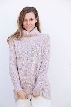 Mauve Turtleneck Chunky Sweater - The Rage - 1