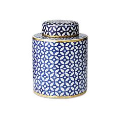 """9"""" Geometric Canister Blue Jars Canisters Tins & Bottles ($125) ❤ liked on Polyvore featuring home, home decor, decorative accessories, blue home decor, blue bowl, blue jars, geometric home decor and blue bottle"""
