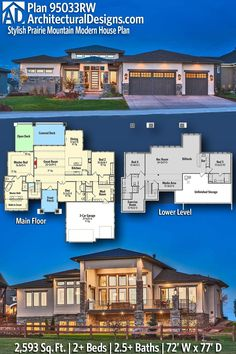 House Plan 95033RW gives you 2600 square feet of living space with 2 bedrooms and 2.5 baths. AD House Plan #95033RW #adhouseplans #architecturaldesigns #houseplans #homeplans #floorplans #homeplan #floorplan #houseplan New House Plans, Modern House Plans, House Floor Plans, Modern Prairie Home, Prairie House, Mountain Modern, Roof Plan, Workout Rooms, Great Rooms