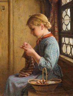 """""""Muchacha tejiendo en la ventana""""     -      """"Girl Knitting at the window""""   - (Óleo sobre lienzo - 1878) Albert Anker (1831-1910) Pintor suizo de Ins, comuna suiza del Cantón de Berna, especializado en pintura de niños."""