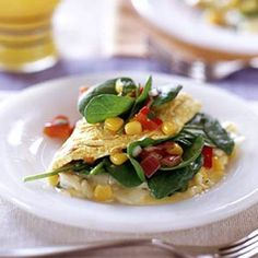 Tex-Mex Spinach Omelet (w/ pepper cheese, cilantro & veggies). Serve w/ Corn Muffins!