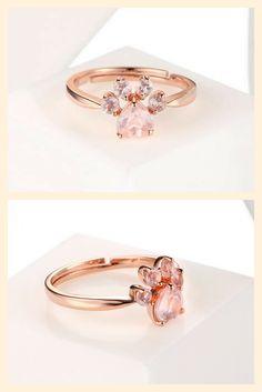 Cute Rose Quartz Paw Ring