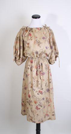 1970s Dress - Butterfly and Floral Print Dress - Neutral Fashion - Batwing Sleeve - Bohemian Hippy Dress - Boho - 1024.  via Etsy.