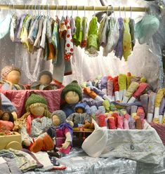 Waldorf Dolls, clothes and play silks - booth of the Olive Sparrow at Ottawa Waldorf School