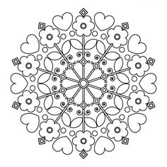The contour of children's mandalas for coloring. Pattern Coloring Pages, Printable Adult Coloring Pages, Mandala Coloring Pages, Free Coloring Pages, Coloring Books, Tangled Flower, Parchment Design, Icon Png, Watercolor Art