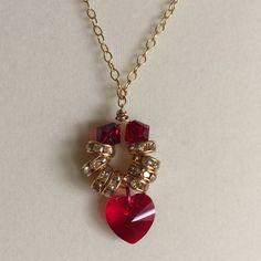 Ruby Swarovski Heart Pendant Necklace