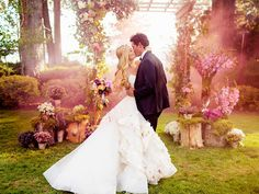 """14 Photos From Designer Hayley Paige's Magical Wedding Weekend. This """"fairy forest"""" backdrop looks like our own little forest; we're just missing the fairy dust😍 .and her production team to do the lighting, effects, etc 💰💰LOL - Christina Meadows Wedding Kiss, Magical Wedding, Perfect Wedding, Dream Wedding, Garden Wedding, Wedding Bride, Ethereal Wedding, Fantasy Wedding, Whimsical Wedding"""