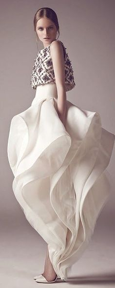 Sculptural Fashion - romantic dress with rippling layers; couture fashion; wearable art // Mohammed Ashi