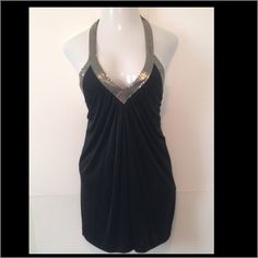 BCBG-night out! Stunning black satin like dress with deep v-never worn BCBGMaxAzria Dresses Prom