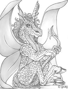 Fayunidrac by swandog on DeviantArt Free Adult Coloring, Adult Coloring Book Pages, Animal Coloring Pages, Colouring Pages, Printable Coloring Pages, Coloring Books, Gothic Fantasy Art, Fantasy Dragon, Dragon Art