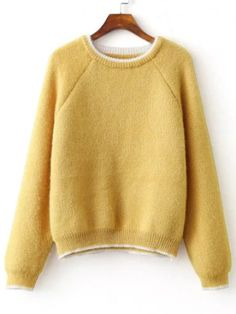 Yellow Contrast Trim Raglan Sleeve Mohair Sweater
