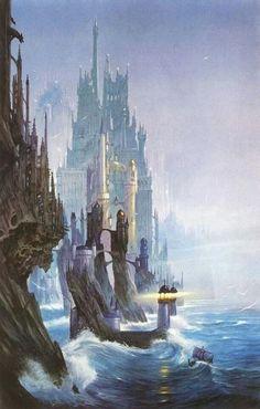 Fantasy - Surrealism - Other Art Fantasy City, Fantasy Castle, Fantasy Places, High Fantasy, Fantasy World, Tolkien, Art Et Illustration, Illustrations, Alan Lee
