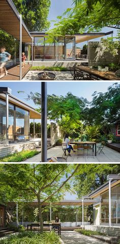 This courtyard between the main house and a backyard studio features a central paved terrace with a protected private area for dining, entertaining, lounging and year-round play. A central Silk tree provides dappled shade in summer.#Courtyard #Garden #Landscaping