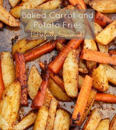 A delicious way to get you or your kids eating more veggies. Healthy Baked Carrot and Potato Fries Recipe ~ http://reallifedinner.com