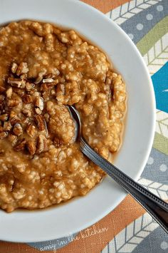 Healthy slow cooker pumpkin pie oatmeal is so easy to make. Throw everything in the slow cooker overnight and you'll have breakfast ready when you wake up!