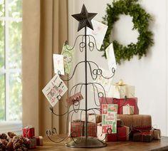 tree holiday card holder - pottery barn