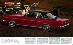 1969 Ford Falcon is a compact size muscle car, presented in a wide variety of modifications and powertrain options. Plymouth Valiant, Car Brochure, Ford Torino, Big Three, Ford Falcon, Pony Car, Car Advertising, Cheap Cars, Chevrolet Corvette