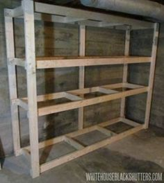 Cheap Garage Shelves Ideas | How To Make A Basement Storage Shelf   White  House Black