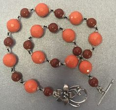 Hand knotted semi precious orange jade, red jasper, sterling silver beads, gorgeous 925 sterling silver flower toggle clasp necklace by jancashdesigns1 on Etsy