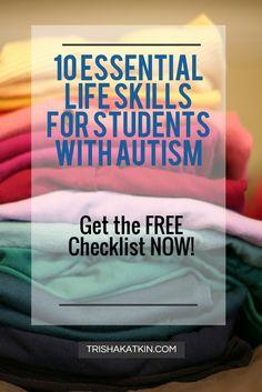 10 Essential Life Skills for Students with Autism From Autism Educator Ms Trisha Katkin Life Skills Lessons, Life Skills Activities, Teaching Life Skills, Learning Games, Teaching Resources, Teaching Ideas, Life Skills Classroom, Autism Classroom, Special Education Classroom