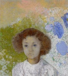 Portrait of Genevieve de Gonet as a Child, 1907, Symbolism, pastel on paper, Private Collection, Odilon Redon (1840-1916).
