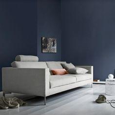 Zenith soffa - Zenith soffa - antracit/vit, tyg bakar, 220 cm