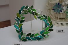Chiaki's work: Stained Glass Wreath-Heart