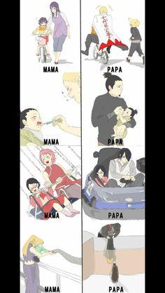 Boruto, Sarada, Shikadai, Inojin with their parents.