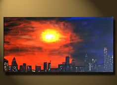 Office Art Paintings sunset City Scape view, Large Canvas painting 48x24, New York City, Urban Art abstract Acrylic purple