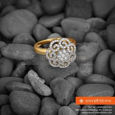 Beautiful and solid floral diamond ring from our spectacular collection. Unique Diamond Rings, Diamond Engagement Rings, Diamond Jewelry, Hand Jewelry, Jewelry Rings, Jewellery, Mom Ring, Gold Ring Designs, Bridal Jewelry