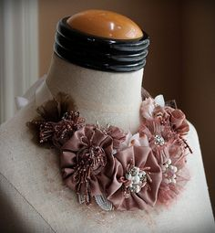 ROMANTIC ROSE Pink Rose Statement Necklace by carlafoxdesign, $345.00