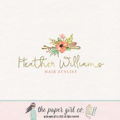 hair clip logo hair salon logo watercolor logo by ThePaperGirlCo