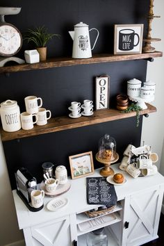 coffee bar ideas I am so excited to share my DIY coffee bar details with you! For Mother's Day this past year, I asked for a chalkboard wall with wood shelves to go above my white buf Coffee Bar Design, Coffee Bar Home, Home Coffee Stations, Coffee Corner, Coffe Bar, Furniture Deals, Bar Furniture, Kitchen Furniture, Kitchen Decor
