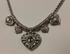 "Peridot & Sterling Silver Choker Necklace 18"" #Choker #necklace #peridot #semipreciousstones #sterlingsilver #filigree #design"