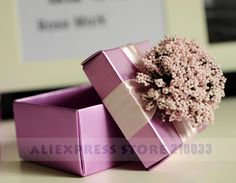The Candy Gifts Chocolate Handmade Favors Boxes With Multi-Colored Flower And Ribbon Set of 100 Free Shipping Wholesale - Pandora Fashion