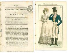 Antique 1821 Regency magazine + fashion print Costume Parisien gentleman waistcoat gown