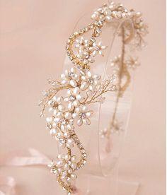 Crystal Bridal Headpiece Pearl Bridal by LaceandGraceCreation