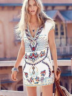 Beautiful Bohemian Print Deep V Mini Dress