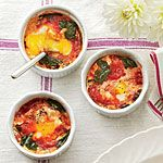 Baked Eggs with Spinach and Tomatoes Recipe | MyRecipes.com