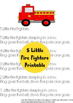 5 Little Fire Fighters Poem and Activity
