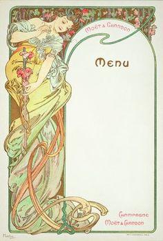 "Mucha, Alphonse Marie -- ""Moet & Chandon menu, 1899 "" -- High quality art prints, canvases, postcards -- Mucha Foundation Prints"