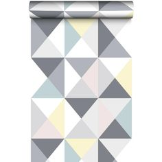 Papier peint Polygone à motif triangles pastel. Ambiance tendance et style scandinave pour un intérieur moderne. 10m x 0,53 m.