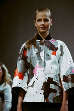 Patchwork snakeskin jacket at Fendi AW14 MFW. Photography by Lea Colombo. More images here: http://www.dazeddigital.com/fashion/article/18957/1/fendi-aw14