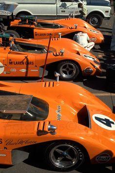 McLaren Trio at Laguna Seca, vintage Can-Am racing Le Mans, Ferrari, Maserati, Lamborghini, Road Race Car, Road Racing, Sports Car Racing, Sport Cars, Nascar
