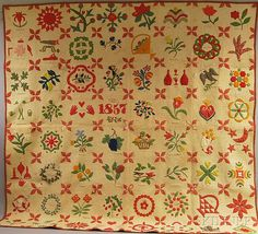 "Pieced and Appliqued Cotton Album Quilt, 1857, appliques depicting tools, foliate and floral motifs, hearts, and eagle, with small inscription reading ""Made by the friends of Laura R. Ackerman in the year 1857,"" 76 x 76 in. , Skinner"