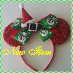 NEW ITEM Gorgeous Minnie ears Headband with a Detachable Big Bow Snowman Ribbon Santa Hat and a center Buckle by MinnieTiaras on Etsy