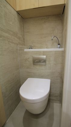 Discover our pictures of our wall-mounted toilet with sink and its incredible unique design. Small Downstairs Toilet, Small Toilet Room, Wc Design, Toilet Design, Garage Bathroom, Bathroom Toilets, Small Shower Room, Small Bathroom, Pantry Laundry Room