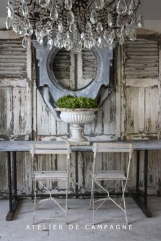 Weathered Shutters And Amazing Chandelier All Colors Photography French Country Beach Cottage Inspiration