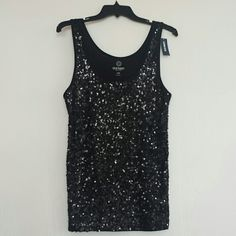 Tank Top Brand new, Stylish Black front sequin & cotton back tank top. Can be worn up or down with jeans or mini skirt for a fun date night or a girls night out. Old Navy Tops Tank Tops