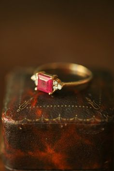 Ruby and Diamond Vintage Ring, OOAK 1930's Vintage Ruby Ring, Princess Cut Ruby Ring, July Birthstone, Red Ruby Engagement Ring